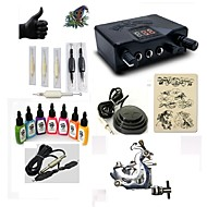 billige Tatoveringssett for nybegynnere-Tattoo Machine Startkit 1 x stål tatoveringsmaskin til lining og skyggelegging LED strømforsyning 5 x engangsgrep 5 stk tattoo Nåler