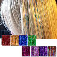 Hair Tinsel Extensions 160 Strands 90cm 8 Colors (Sparkling Red Purple Rainbow Hot Pink Gold White Blue) Dazzles Highlights Party Festival