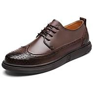 Masculino sapatos Couro Ecológico Primavera Outono Conforto Oxfords Cadarço Para Casual Preto Marron