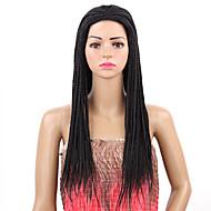 halpa -Naisten Synteettiset peruukit Suojuksettomat Pitkä Afro Musta Letitetty peruukki Luonnollinen peruukki Rooliasu peruukki