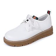 Kadın Ayakkabı PU Bahar Sonbahar Rahat Yenilikçi Oxford Modeli Düz Topuk Yuvarlak Uçlu Bağcıklı Uyumluluk Elbise Beyaz Siyah Yeşil