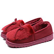 cheap Women's Slippers & Flip-Flops-Women's Shoes Fur Spring Fall Comfort Fluff Lining Slippers & Flip-Flops Flat Heel for Casual Dress Black Gray Red