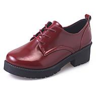 Kadın Ayakkabı PU Sonbahar Kış Rahat Gladyatör Oxford Modeli Kalın Topuk Yuvarlak Uçlu Bağcıklı Uyumluluk Günlük Elbise Siyah Gri Kırmızı