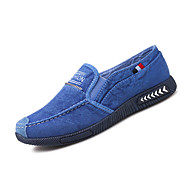 Men's Loafers & Slip-Ons Comfort Spring Fall PU Casual Flat Heel Blue Gray Dark Blue Flat