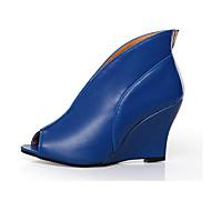 Žene Cipele PU Proljeće Ljeto Udobne cipele Inovativne cipele Modne čizme Čizme Wedge Heel Peep Toe Čizme gležnjače / do gležnja za
