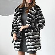 Langærmet Krave Damer Lang Stribet Efterår Vinter Simple Afslappet/Hverdag Plusstørrelser Pelsfrakke,Imiteret pels