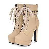 baratos Sapatos de Tamanho Pequeno-Mulheres Sapatos Couro Ecológico Outono / Inverno Conforto / Inovador / Botas da Moda Botas Salto Robusto Dedo Apontado Botas Curtas /