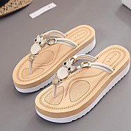 Women's Shoes PU Summer Comfort Slippers & Flip-Flops Flat Heel Open Toe For Casual Fuchsia Beige Black