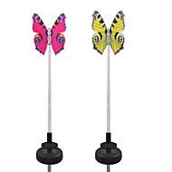 2kpl aurinkokuituvalopainatusvalkoinen / värimuutos puutarhan valo -perhos
