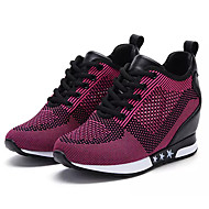 Women's Shoes Tulle Spring Fall Comfort Athletic Shoes Walking Shoes Flat Heel Round Toe Lace-up For Casual Red Fuchsia Gray Black