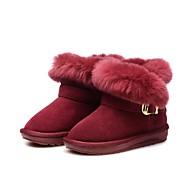 Meisjes Schoenen Veren/bont Leer Winter Comfortabel Snowboots Bontvoering Fluff Lining Laarzen Korte laarsjes/Enkellaarsjes Kwastje(s)