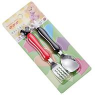 2 stks / set rvs kinderen vork en lepel servies diner supply