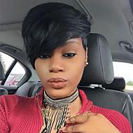 baratos -Mulher Perucas sintéticas Sem Touca Curto Liso Preto jet Para Mulheres Negras Com Franjas Peruca Natural Peruca para Fantasia