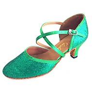 billige Moderne sko-Dame Moderne sko Sateng / Glitter Sandaler Kustomisert hæl Dansesko Rød / Grønn / Marineblå / Innendørs