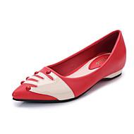 preiswerte -Damen Schuhe Mikrofaser Sommer Herbst Komfort Flache Schuhe Flacher Absatz Spitze Zehe Applikation Für Normal Schwarz Rot