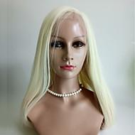 女性 人毛レースウィッグ ユーラシアンヘア 人毛 フルレース 130% 密度 ストレート かつら ブリーチブロンド ミディアム丈