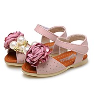 cheap Baby Shoes-Baby Shoes Leatherette Summer Flower Girl Shoes Comfort Sandals Magic Tape Flower for Casual Dress Beige Pink Light Blue