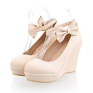 abordables Talons pour Femme-Femme Chaussures Polyuréthane Printemps Automne Confort Nouveauté Chaussures à Talons Talon Compensé Bout rond Noeud Boucle Pour Mariage