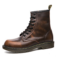 cheap Men's Boots-Men's Combat Boots Leather Fall / Winter Boots Gray / Brown / Red