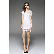 女性用 シルク シース ドレス 刺繍 膝上 ローライズ ホワイト