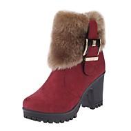 Feminino Sapatos Pele Nobuck Inverno Conforto Botas da Moda Botas Salto Grosso Dedo Apontado Botas Curtas / Ankle Ziper Para Casual Social
