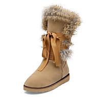 baratos Sapatos Femininos-Mulheres Camurça Outono / Inverno Conforto / Inovador / Botas de Neve Botas Sem Salto Ponta Redonda Botas Cano Médio Penas / Cadarço Preto / Cinzento / Amêndoa / Botas da Moda