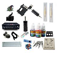 Starter Tattoo Kit 1 rotary machine liner & shader Tattoo Machine LCD power supply 1 × 5ml Tattoo Ink 1 x aluminum grip 2 x disposable