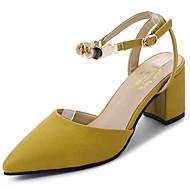 Χαμηλού Κόστους Prom Shoes-Γυναικεία Παπούτσια PU Καλοκαίρι Ανατομικό Σανδάλια Κοντόχοντρο Τακούνι Μυτερή Μύτη Πούλιες Μπεζ / Κίτρινο / Αποκλείστε τα σανδάλια τακουνιών