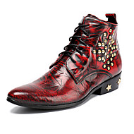 Men's Shoes Nappa Leather Fall Winter Comfort Novelty Fashion Boots Boots Booties/Ankle Boots Rivet Lace-up For Office & Career Party &