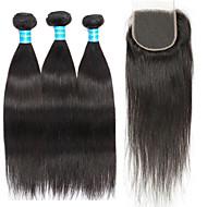 Cabelo Humano Cabelo Peruviano Um Pacote de Solução Liso Extensões de cabelo 4 Preto