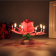 cheap Candles & Candleholders-1Pcs Lotus Flower Candle Birthday Party Cake Music Sparkle Cake Topper Rotating Candles Decoration