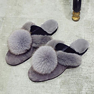 Women's Shoes Fur Velvet Fall Winter Fur Lining Comfort Slippers & Flip-Flops Flat Heel Pointed Toe Closed Toe Pom-pom For Casual Dress
