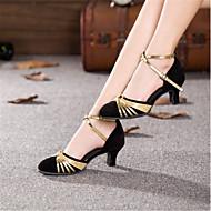 """billige Moderne sko-Dame Moderne Syntetisk Høye hæler Profesjonell Gummi Spenne Kubansk hæl Svart og Gull Svart og Sølv Rød Svart/Rød Rød-Svart 1 """"- 1 3/4"""""""