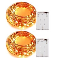 cheap $9.99-5m String Lights 50 LEDs SMD 0603 Warm White / White / Red Christmas / Decorative AA Batteries Powered 2pcs / IP65