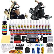 Starter Tattoo Kit 2 alloy machine liner & shader Tattoo Machine LCD power supply 28 × 5ml Tattoo Ink 2 x aluminum grip