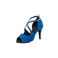 baratos Sapatilhas de Dança-Mulheres Sapatos de Dança Latina Flocagem Sandália Presilha Salto Agulha Personalizável Sapatos de Dança Preto / Vermelho / Azul / Espetáculo / Couro
