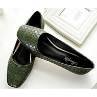 cheap Women's Flats-Women's Shoes PU Spring Fall Comfort Flats for Casual Black Army Green Almond