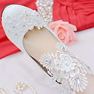 baratos Sapatos Femininos-Mulheres Sapatos Renda / Courino Primavera / Outono Conforto Sapatos De Casamento Ponta Redonda Pedrarias / Laço / Apliques Branco