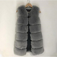 Women's Casual/Daily Simple Fall Winter Fur Coat,Solid Round Neck Sleeveless Long Fox Fur
