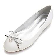 billige Bryllupssko-Dame Sateng Vår / Sommer Komfort bryllup sko Rund Tå Sløyfe / Perle / Imitasjonsperle Blå / Lysebrun / Krystall / Bryllup / Fest / aften
