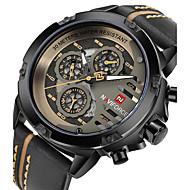 Heren Militair horloge Skeleton horloge Unieke creatieve horloge Kwarts Echt leer Band Zwart Bruin