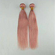 Human Hair Malaysian Precolored Hair Weaves Straight Hair Extensions Two-piece Suit Rose Pink