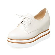 נשים נעליים דמוי עור סתיו נוחות נעלי אוקספורד בוהן עגולה עבור קזו'אל שמלה לבן שחור בז'