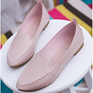 cheap Women's Slip-Ons & Loafers-Women's Shoes PU Spring Fall Moccasin Loafers & Slip-Ons Flat Heel for Casual White Blue Pink