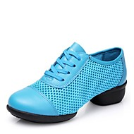 Women's Dance Sneakers Tulle Split Sole Sneaker Outdoor Low Heel Blue Red Fuchsia Black 1 - 1 3/4