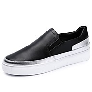 cheap Women's Slip-Ons & Loafers-Women's Shoes Cowhide Spring / Fall Comfort Loafers & Slip-Ons Round Toe Split Joint for White / Black