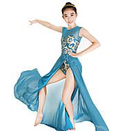 お買い得  ダンス用品-バレエ ドレス スパンコール 女性用 子供用 ダンスパフォーマンス 弾性ある ファブリック ライクラ スパンコール ノースリーブ ナチュラルウエスト ドレス ヘッドピース