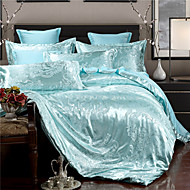 cheap Floral Duvet Covers-Duvet Cover Sets Floral 4 Piece Faux Silk Jacquard Faux Silk 4pcs (1 Duvet Cover, 1 Flat Sheet, 2 Shams)