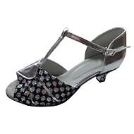 baratos Sapatilhas de Dança-Mulheres Sapatos de Dança Latina Glitter / Couro Sandália Salto Personalizado Sapatos de Dança Prata / Azul / Prata / Black / Interior