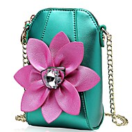 Women Bags PU Coin Purse Crystal Detailing Flower(s) for Shopping Casual All Seasons Yellow Light Green Fuchsia Light Purple Light Grey